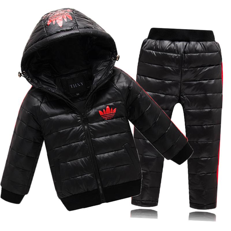 Детский пуховой костюм из куртки с капюшоном и брюк