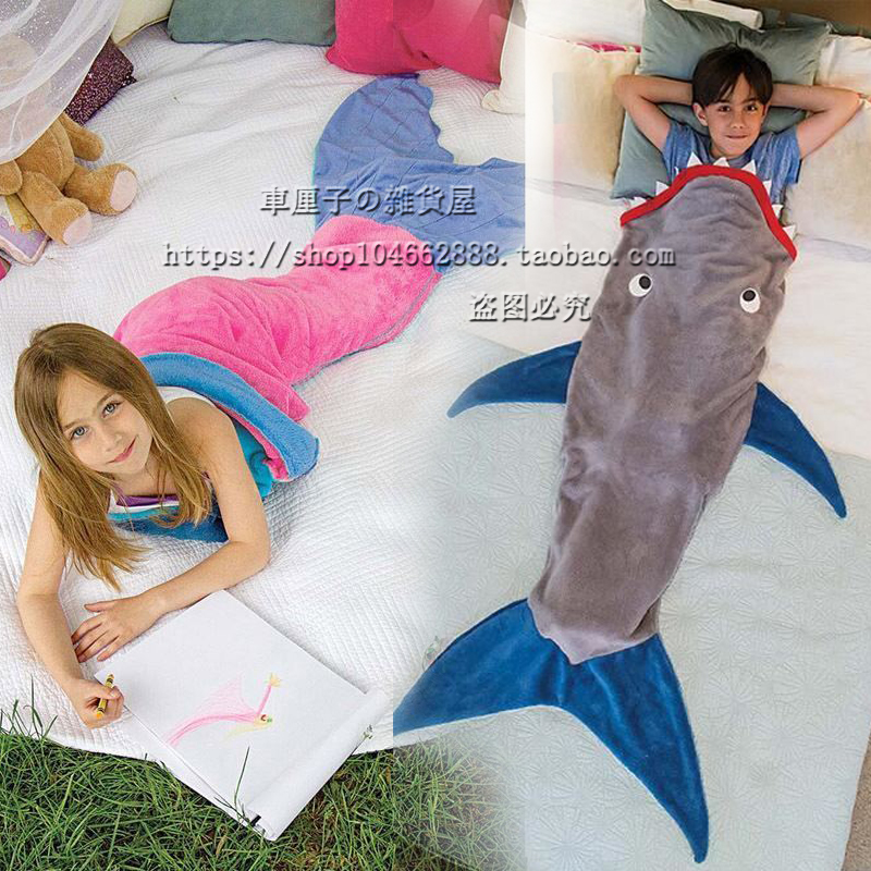 Kids Childrens Mermaid Shark Blanket Sleeping Bag Mattress