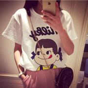 大碼女裝2015夏裝新款韓版卡通上衣學生短袖T恤可愛寬松白色體恤