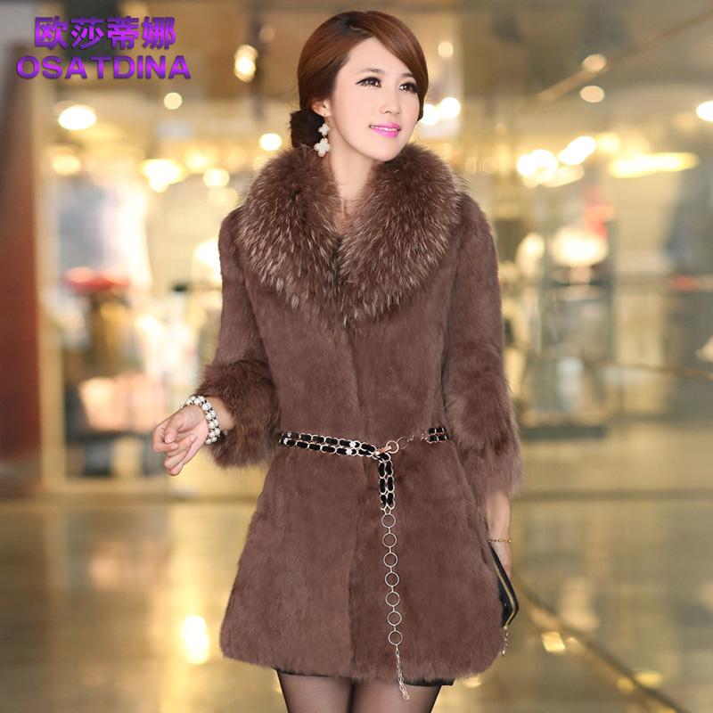 к 2015 году новых Haining енота мехом пальто шерсти воротник кролика меха длинными рукавами корейской версии семь девочек распродажа скидки