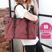 Canvas bag women bag bale bulk mother baodan simple retro shoulder diagonal wave Arts Academy wind mobile