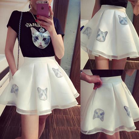 2016 короткие кошки печатных футболки + высокой талией и пушистые органзы юбки два кусок костюм