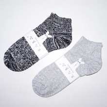 Good socks wood several Japanese small and pure and fresh man bold lines snowflakes damask short foot massage cotton socks