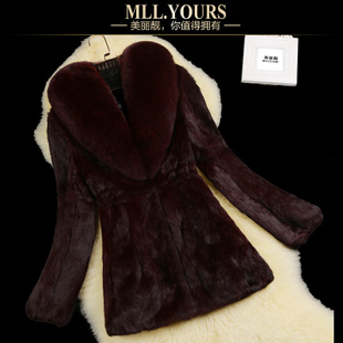 2014 new autumn and winter long section of Haining selling rabbit fur fox fur coat special clearance Women