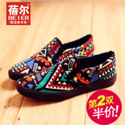 Becky's autumn new style canvas shoes men Korean boom lazy shoes floral Lok Fu folk style leisure shoes flat men's shoes