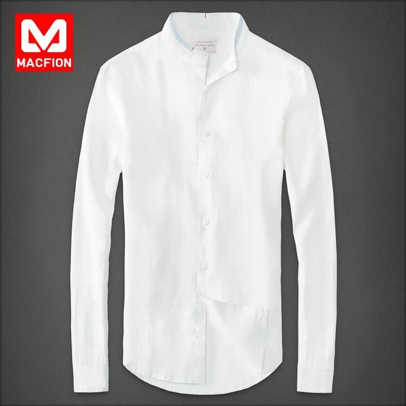 Macfion 邁克 middot 菲恩2016 男士條紋長袖尖領襯衫 襯衣男