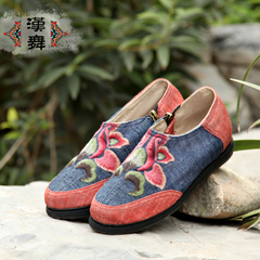 Chinese dance fall of 15 old Beijing cloth shoes leisure shoes layer deep, circular, spelling the end of color embroidered shoes Lotus print