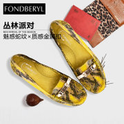 Fondberyl/feibolier 2015 new snakeskin leather metal round head low women shoes FB51113631