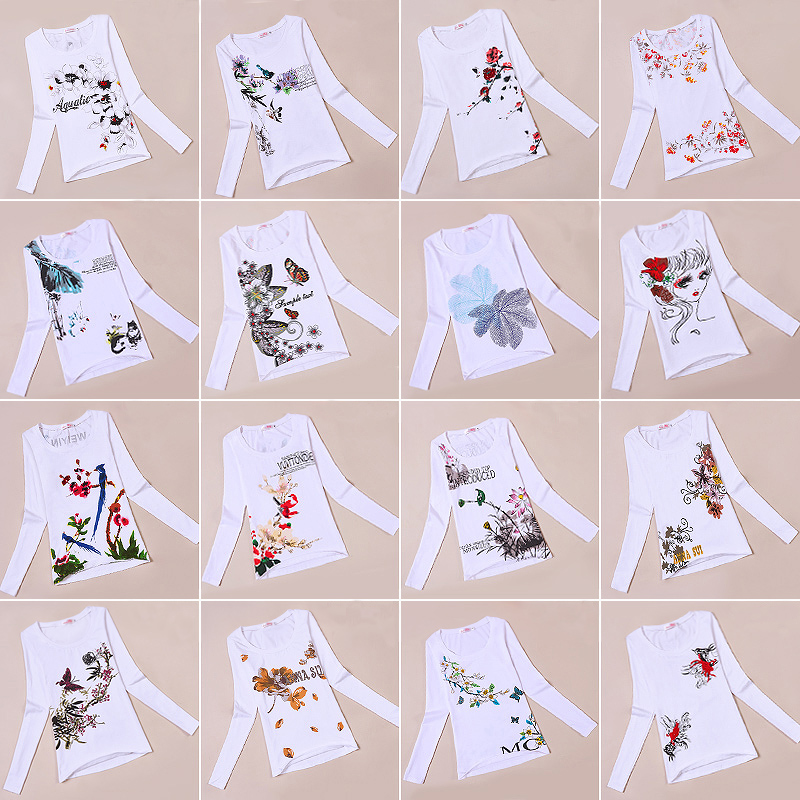 Early autumn new 2020 long sleeve base coat national style printed T-shirt women slim White T-Shirt Top