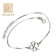 Old silversmith anklet genuine 925 Silver four-leaf clover pin chain Korean jewelry simple and fashionable gifts girlfriends