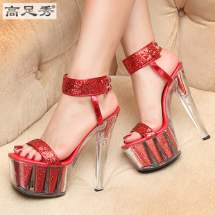 2016 summer shoes sexy super high heels red wedding shoes bridal shoes with thin waterproof sandals models increased