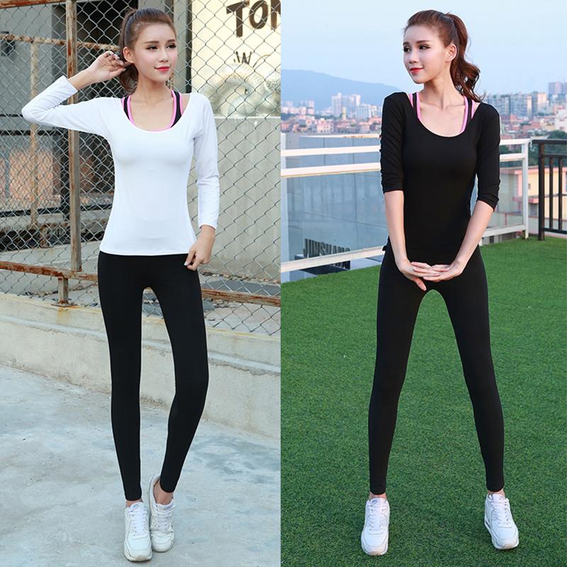瑜伽服三件套顯瘦健身房 套裝緊身速幹衣跑步健身服女長袖