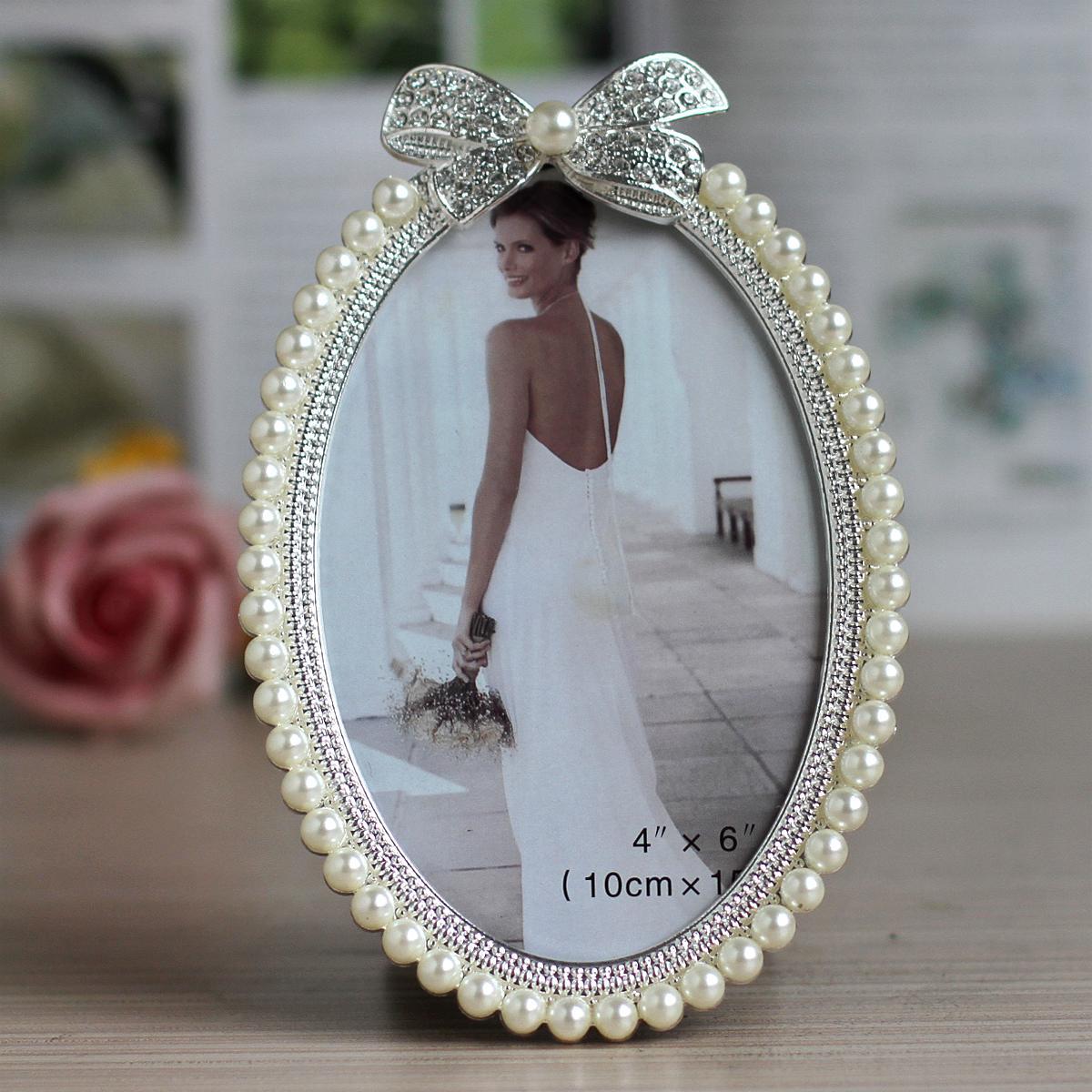 3寸6寸7寸珍珠金屬相框 鑲鑽珍珠擺台婚紗照相架 生日 擺件X14