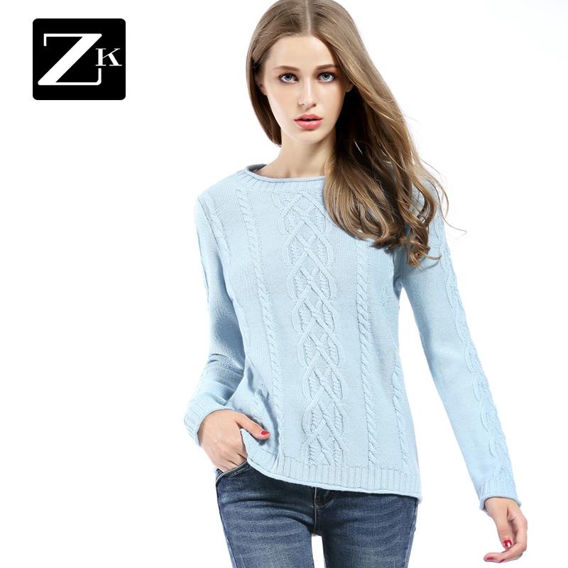 ZK витой твердые круглые воротник основывая свитер женские наборы глава вязание обтягивающий стройнящий плотно свитер линия одежда новинка зимний осеннний