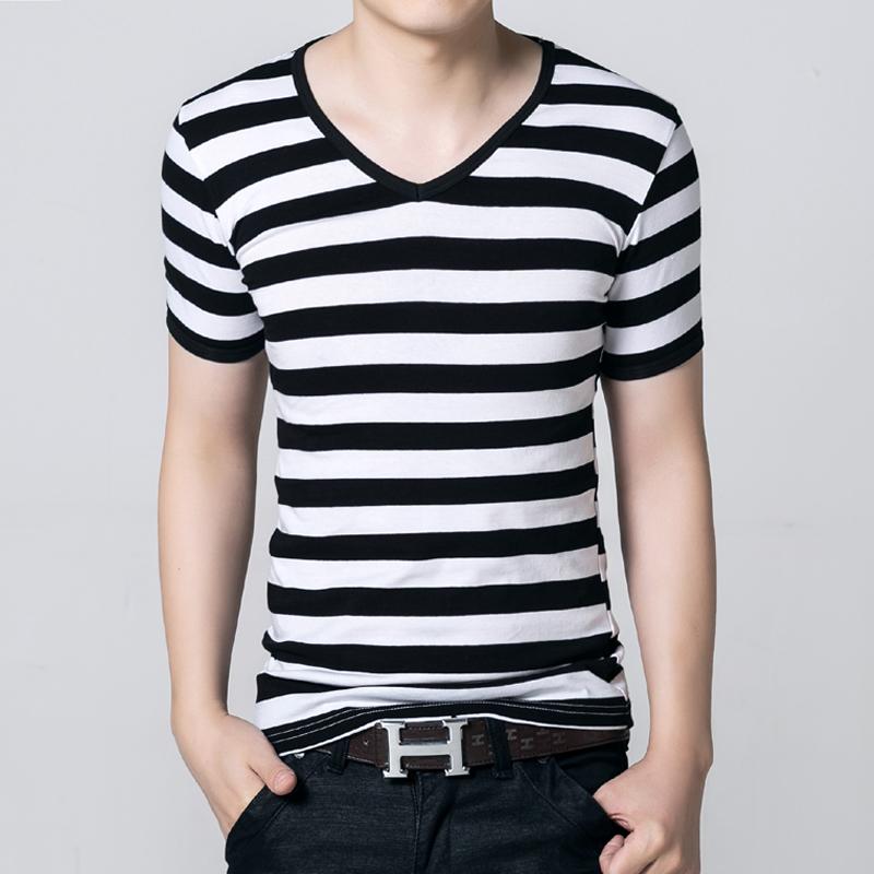男裝 男士短袖t恤男 V領打底衫半袖夏裝男裝條紋修身緊身衣服