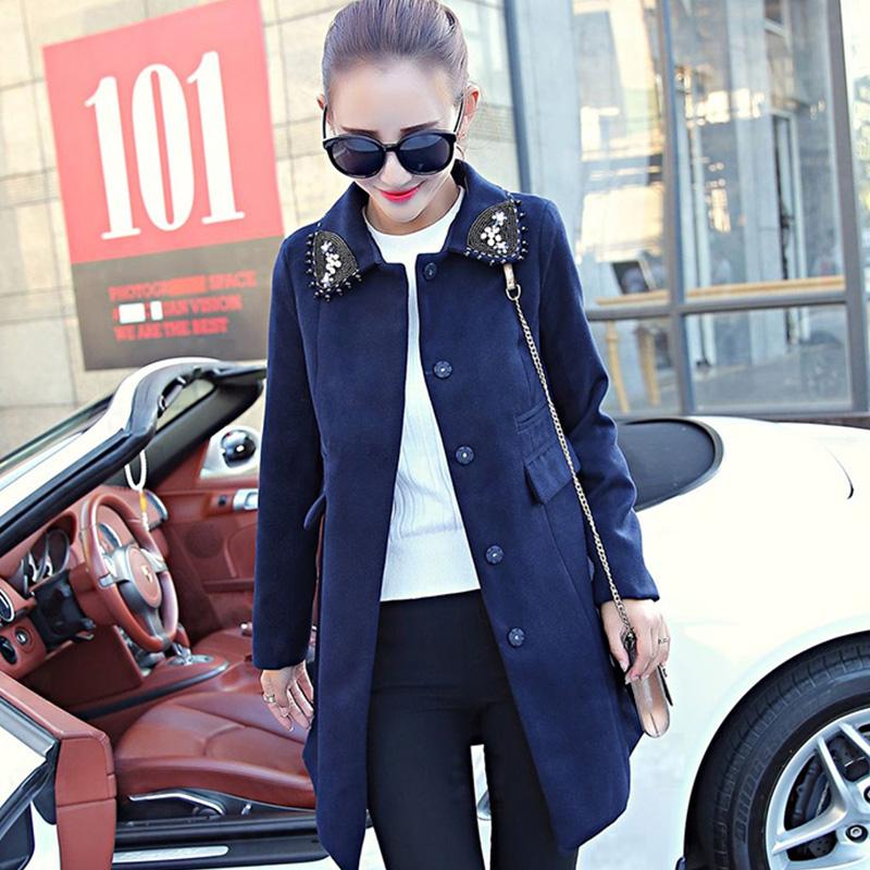 酷伽2016秋 女裝 氣質新品中長款毛呢外套修身顯瘦呢子大衣
