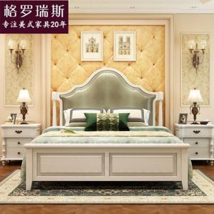 美式床实木床 白色双人床 卧室家具床美式乡村床1.8/1.5米欧式床