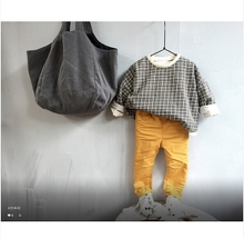 Cool girl Han Guojin product children's clothes bought 15 autumn KOKO boy grid bat sleeve leisure long-sleeved T-shirt