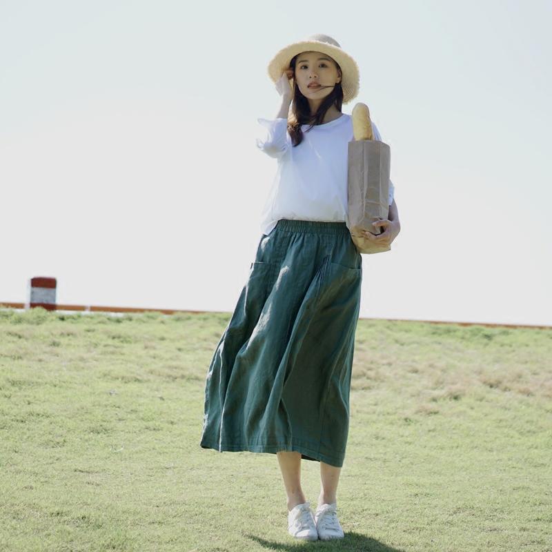 清新墨绿 亚麻料 新款a字半身裙中长款两侧压褶显瘦夏季文艺女装