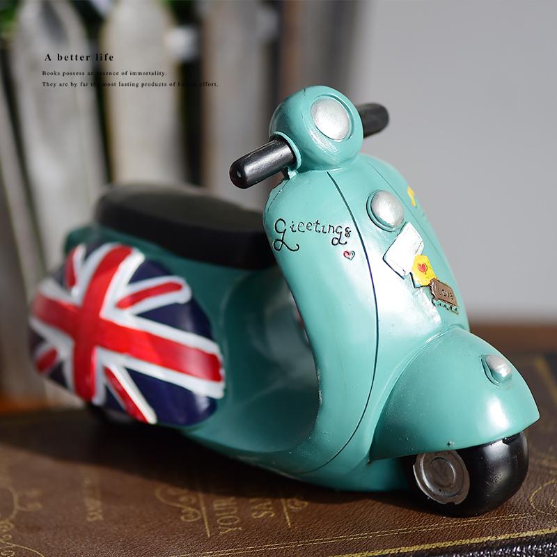 zakka複古摩托車樹脂模型店鋪裝飾擺件 家居飾品兒童房道具