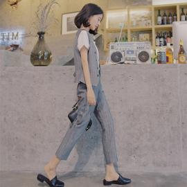 2020韩版夏新款女时尚西装短款马甲两件套复古港味棉麻职业套装潮图片