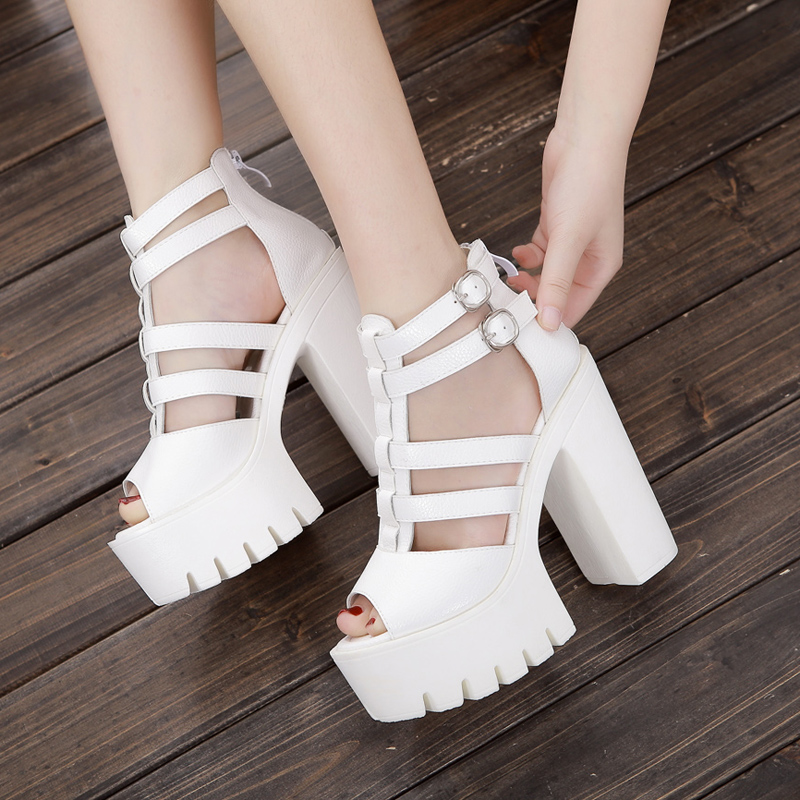 New sandals womens hollow out super high Roman fish mouth thick heel waterproof platform leather high heels womens shoes for work