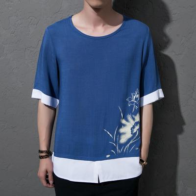 中国风 天蓝色 夏装加大码男士假两件T恤莲花T恤A032/T207/50控68