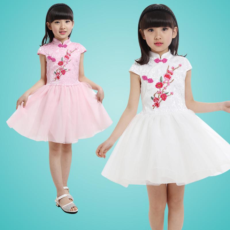 2016年 短袖女童連衣裙兒童表演服演出服公主裙旗袍紗裙子夏裝