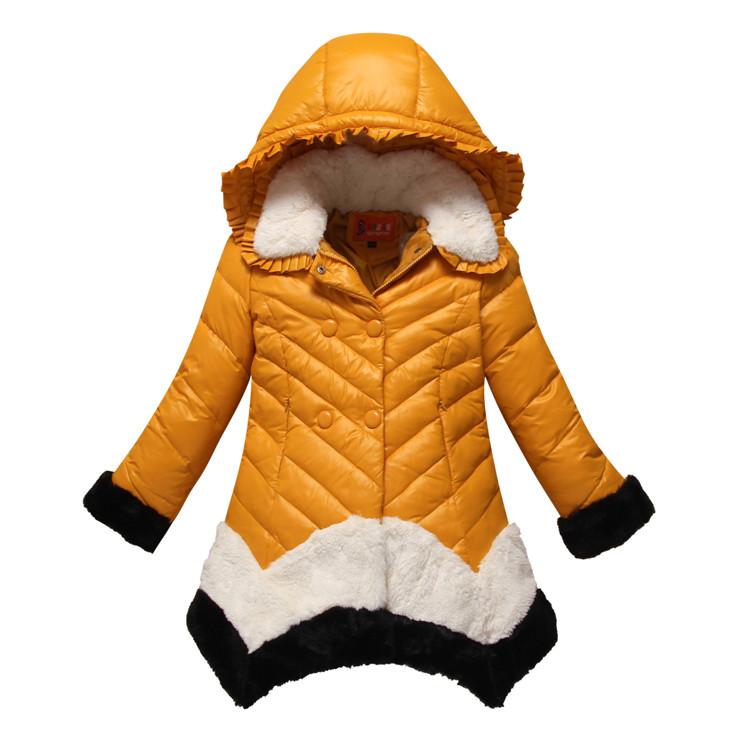Дети девочек детей зимы 2015 вниз куртка перо ragazza долго тяжелых вниз пальто в сезон-Распродажа