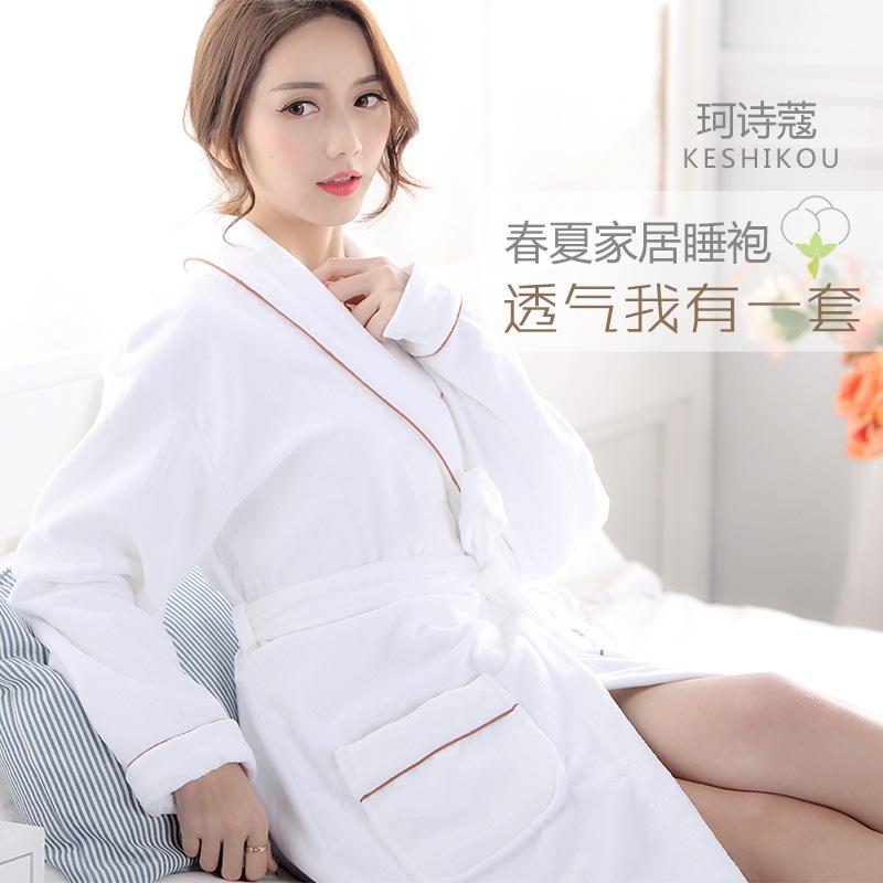 Лето хлопок халаты ткань для полотенец ночное белье абсорбент пары мужской женщина ванна одежда для взрослых отели весна сезон хлопок тонкая модель