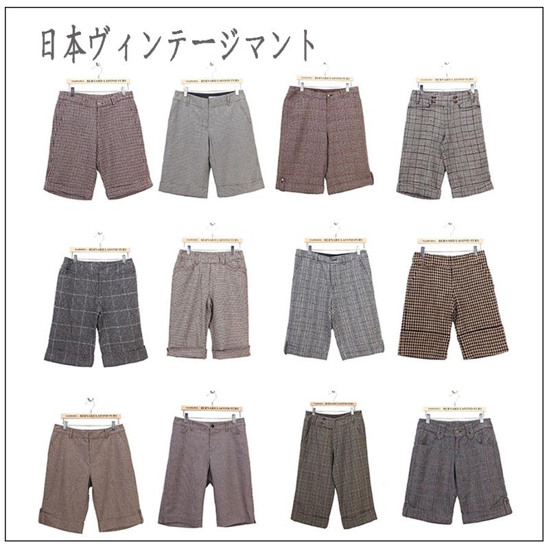 Winter Vintage wide legged pants pants pants pants, pants, woolen Capris, ancient Japanese British Plaid