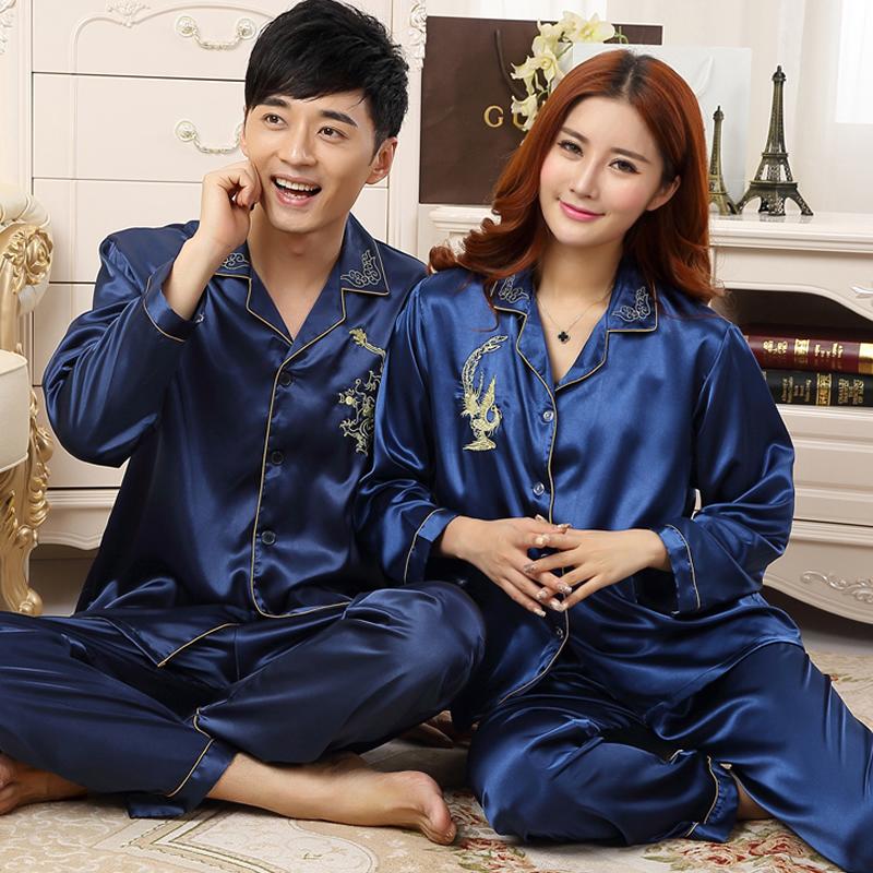 Высококлассные Феникс празднование длинным рукавом пижамы мужские и дамы и пары шелкового атласа два кусок костюм дому пакет почты