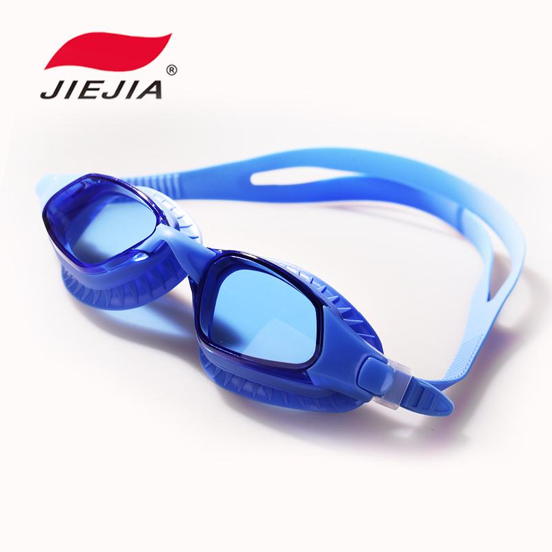 捷佳泳鏡正品 高清 防霧遊泳鏡 電鍍平光 大框 遊泳眼鏡 男女包郵