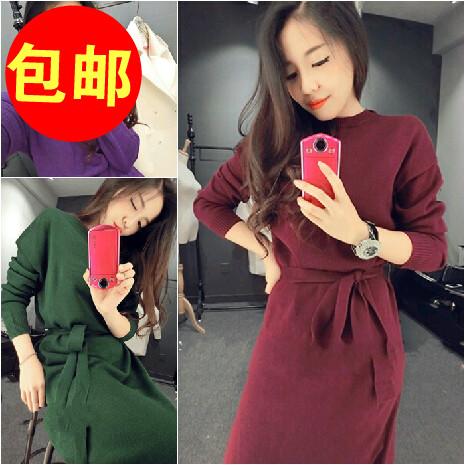 YY тенденции * осень новый Корейский моды сплошной цвет ремни стороне щелевой длинные рукава свитер платье женщин