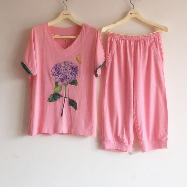 玛伦萨睡衣女士春夏新款莫代尔棉短袖七分裤薄家居服套装E6622371