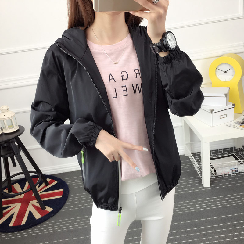 Spring and autumn thin womens coat Korean slim sports jacket reflective zipper windbreaker solid color couple student large