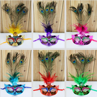 Halloween dance performances mask Venetian mask feather masks painted upscale peacock feather masks