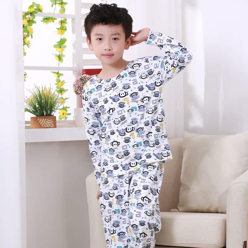 Детские пижамы мужские хлопок руно детские костюмы в осенние и зимние толстые большие мальчики молодежи дети одежда