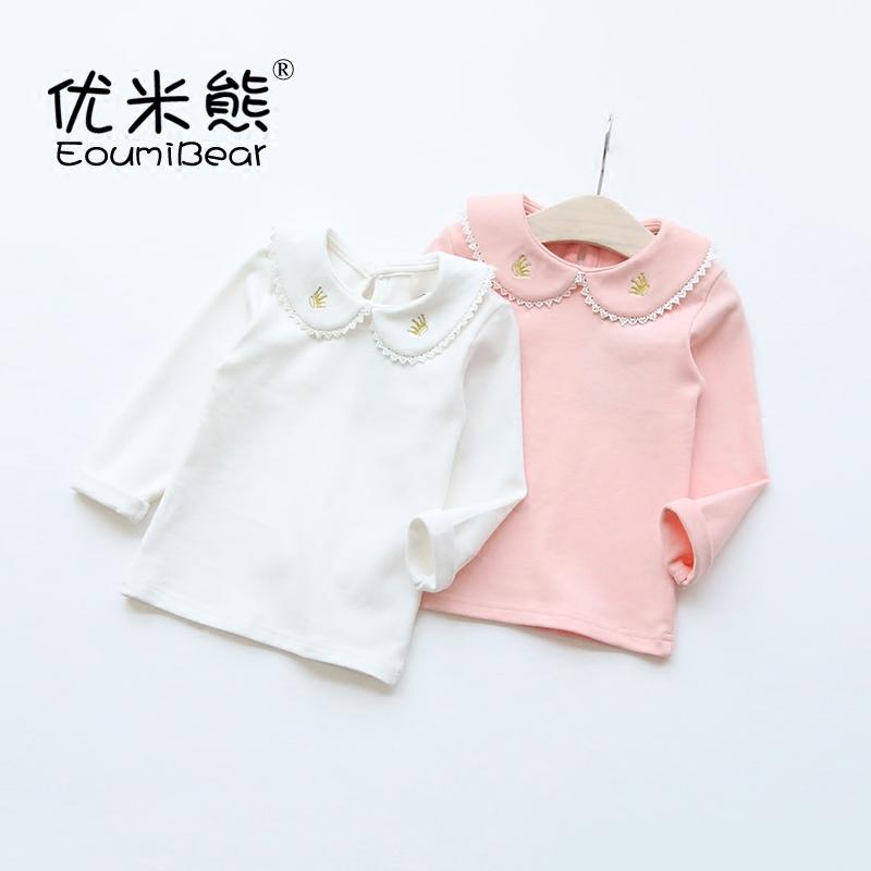 兒童純棉刺繡白色打底衫