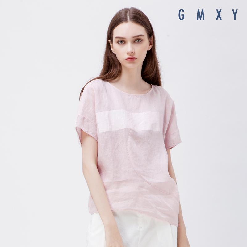 古木夕羊/GMXY夏女装新品异型亚麻T恤女短袖