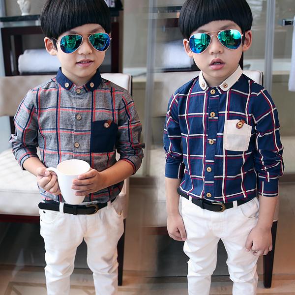 Дети проверить рубашку с длинными рукавами корейской версии мальчиков воротник фланец кнопку вспышки Англии попала цвета детское с длинным рукавом