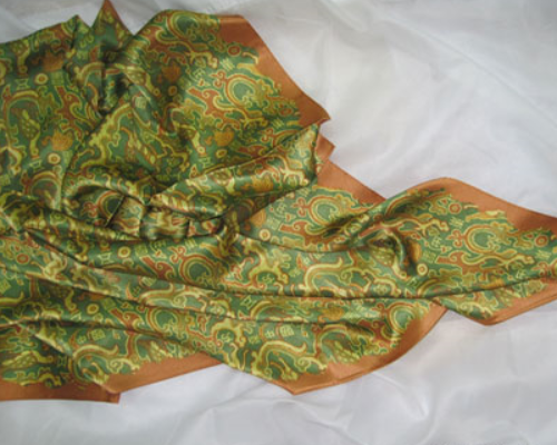 100% Silk Scarf / Chinese classical national style printed silk big square / plain crepe satin 22