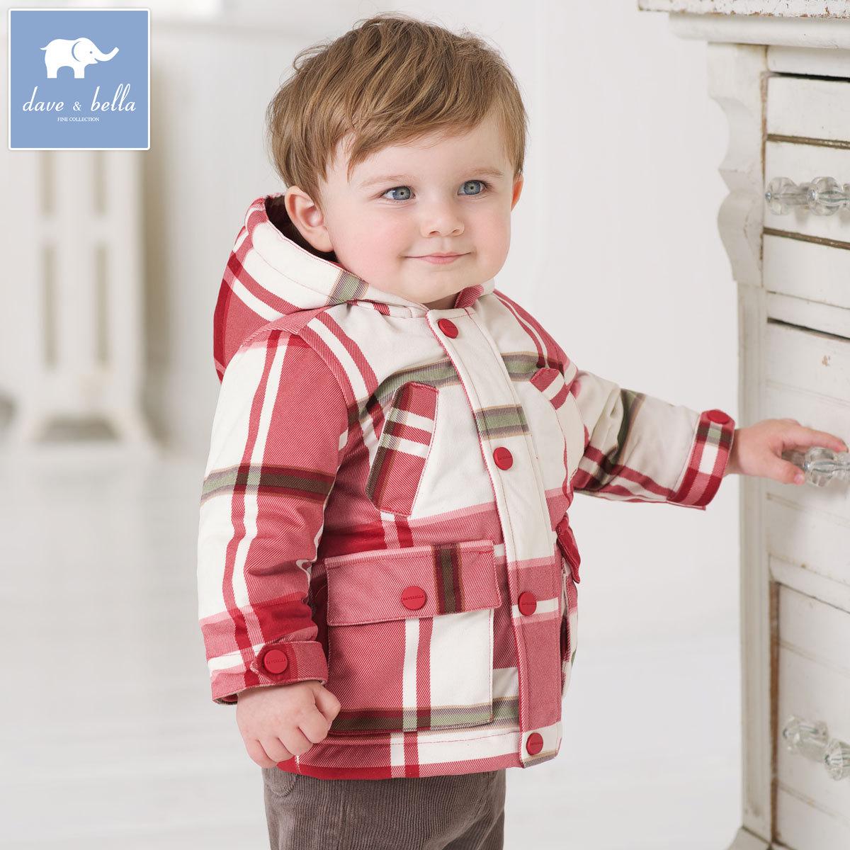 Davebella baby мальчик осенью и зимой плюс кашемира с капюшоном теплое пальто младенца платья куртки WT
