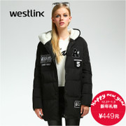 Westlink/West in 2015 new thick warm winter women's embroidered Cap Zhang Lian long down jacket