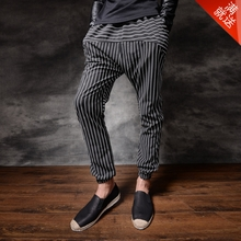2015 new qiu han edition cultivate one's morality men striped pants seam foot height pants haroun pants youth hollow out trend