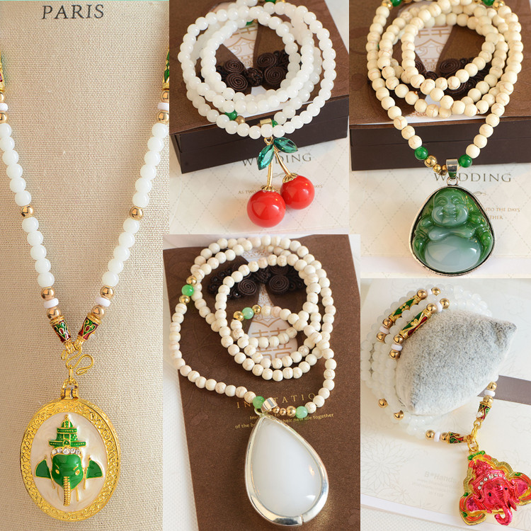 Summer pendant bead jewelry chain long Beaded gemstone clothing wholesale Korean manufacturers color direct