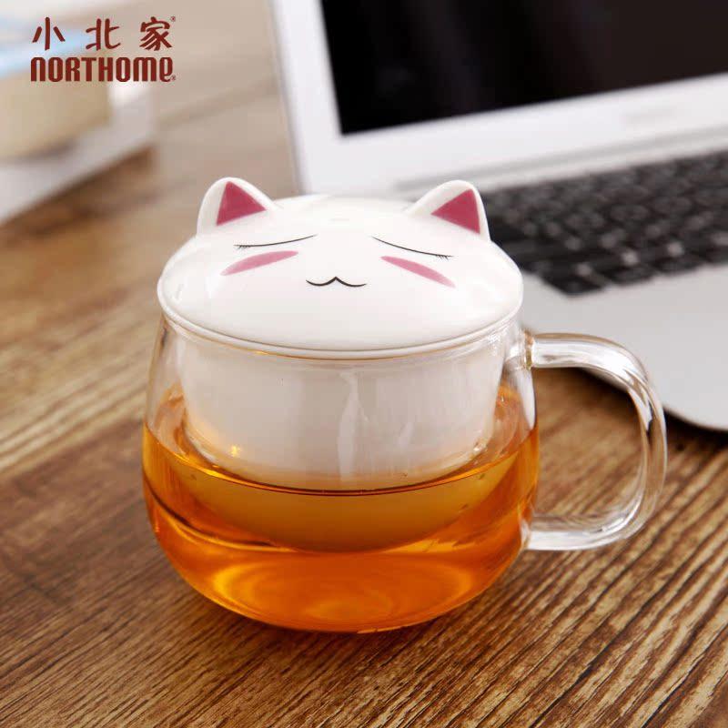 小北家NORTHOME 加厚可愛卡通動物 陶瓷耐熱玻璃茶杯過濾杯子水杯