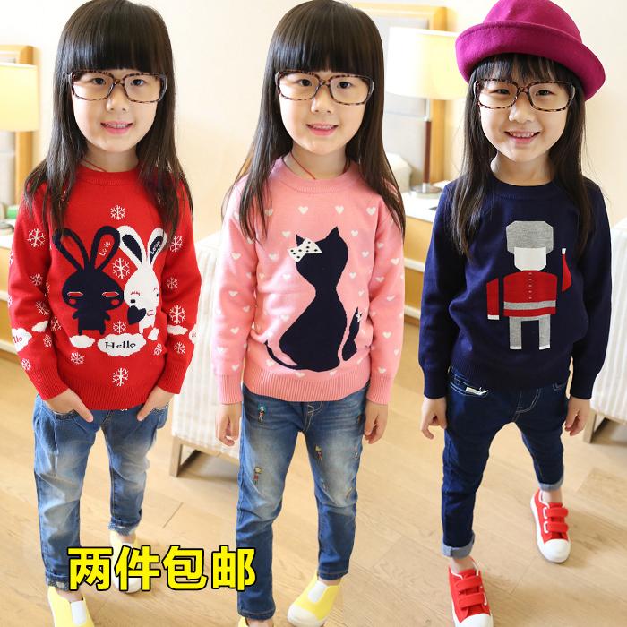 Детский свитер с длинным рукавом девочек носить осенью 2015 Новый мультфильм двойной толстые девушки пуловер crewneck свитер