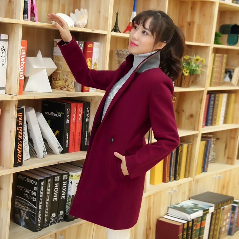 весной 2015 загружен новый Корейский костюм шерсти пальто шерстяные ткани пальто тонкие длинные мягкие Пальто Женская одежда