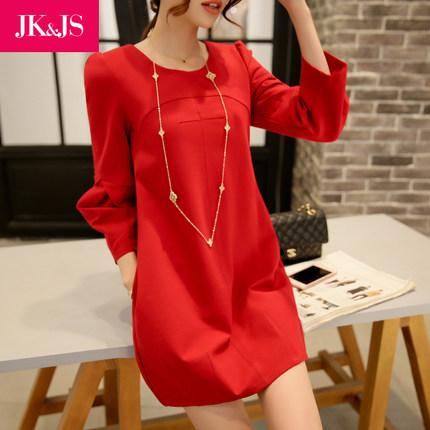 2015韩版秋冬季红色七分袖连衣裙  中长款 修身显瘦